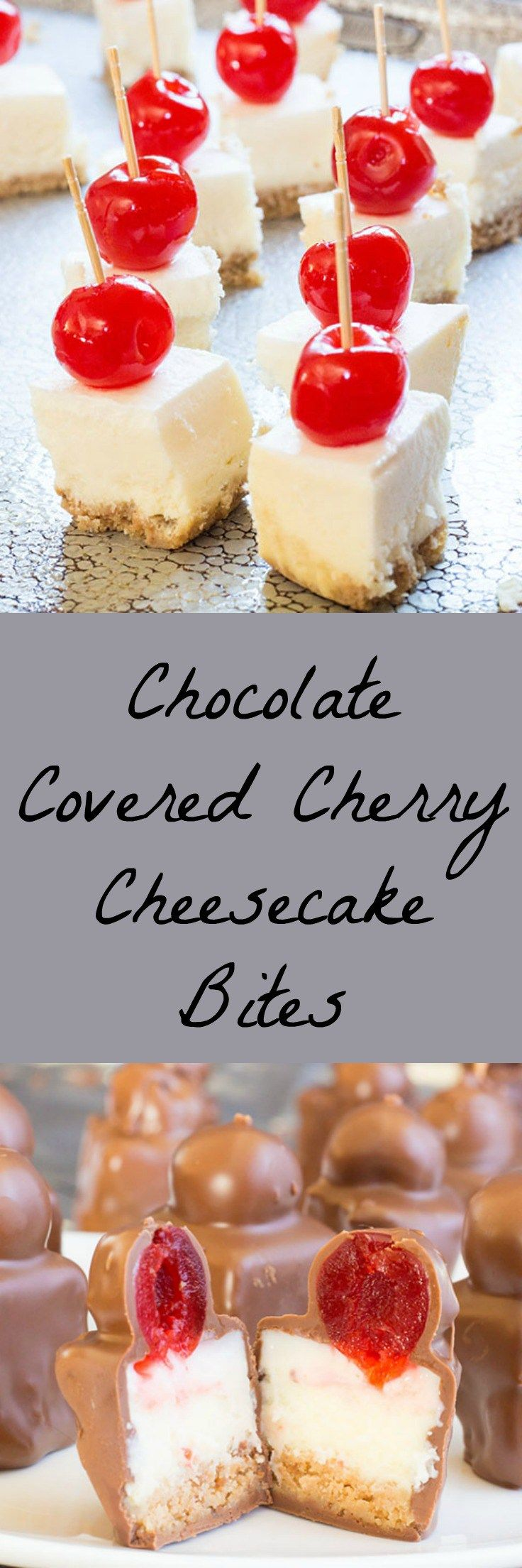 Chocolate covered cherries and cheesecake rolled into one bite sized treat.