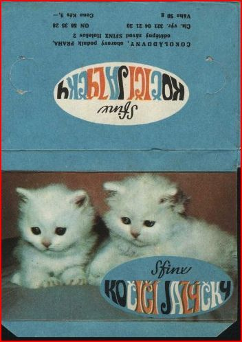 "Packaging of favourite Czech chocolate candy - so called ""cats´ tongues"""
