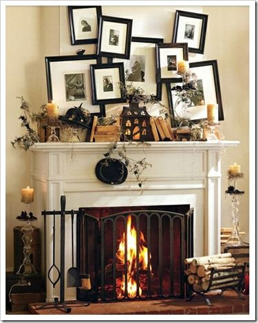 Neat tutorial that shows you how to hang crooked frames.  You could put black/white photos of your kids in their Halloween costumes in the frames. Fun!