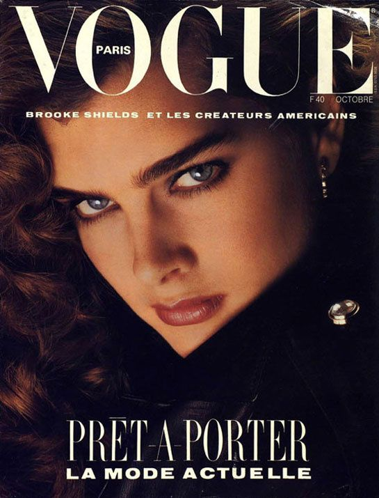 The Extraordinary Beauty Brooke Shields. Cover of Paris Vogue. From The Late 1970's.  Original Pin: Rafael