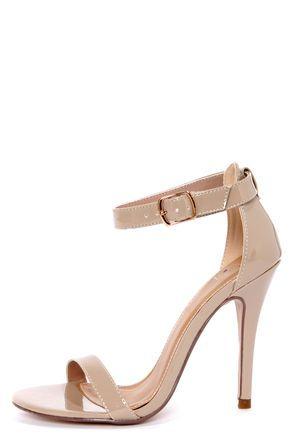 Chacha Dark Beige Patent Single Strap High Heels  |  My Delicious @LuLu*s