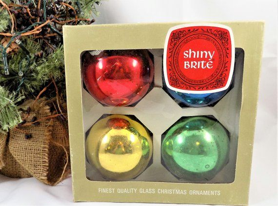 Shiny Brite Christmas Ornaments Large 3 Inch Ball Ornaments Made In Usa Vintage Christmas Ornaments Vintage Christmas Ornaments Vintage Christmas Decorations Shiny Brite