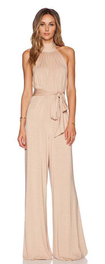 Shaun jumpsuit by Rachel Pally. 92% modal 8% spandex. Dry clean recommended. Halter strap ties around neck. Jersey knit fabric. R...