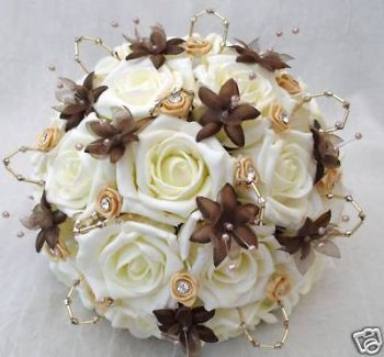 WEDDING FLOWERS, ARTIFICIAL POSY BOUQUET IN IVORY ROSES WITH BROWN BABIES BREATH, GOLD RIBBON ROSES
