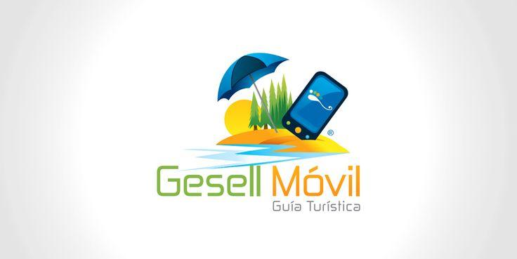 Diseño de logotipo e ilustración para Guía Turística Móvil, una app para celulares con Java, Iphone y Android que contiene información de interés con atractivos a visitar para el turista y una serie de rubros comerciales con avisos publicitarios.