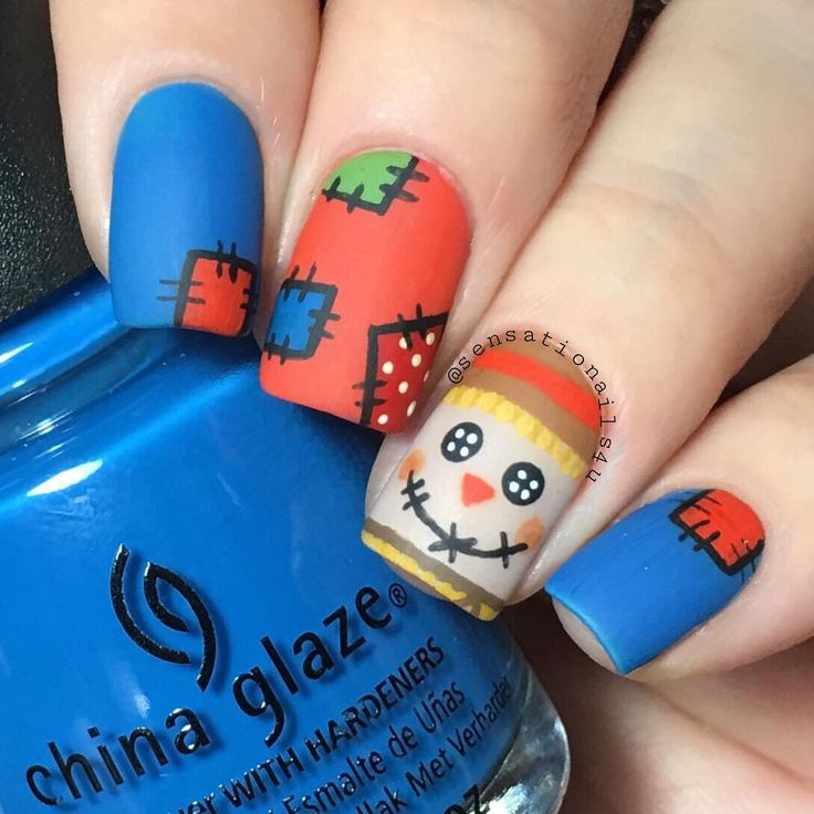 """Scarecrow Nails  Matte version of my previous post. I can't decide which one is prettier  Tutorial coming up  I used  @chinaglazeofficial License &…"""