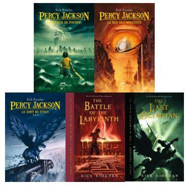Percy Jackson une série trop cool. Les cinq tomes: le voleur de foudre, la mer des monstre, le sort du titan, la bataille du labyrinthe  et le dernier Olympien