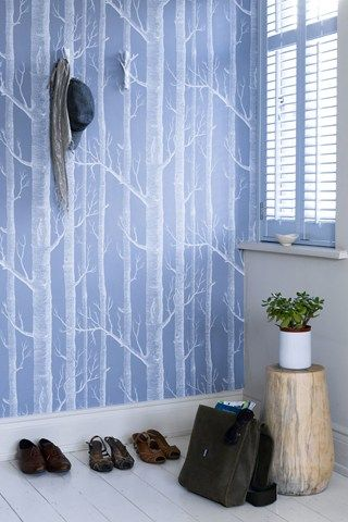 A statement wallpaper gives a hallway instant personality, Cole & Son Woods wallpaper
