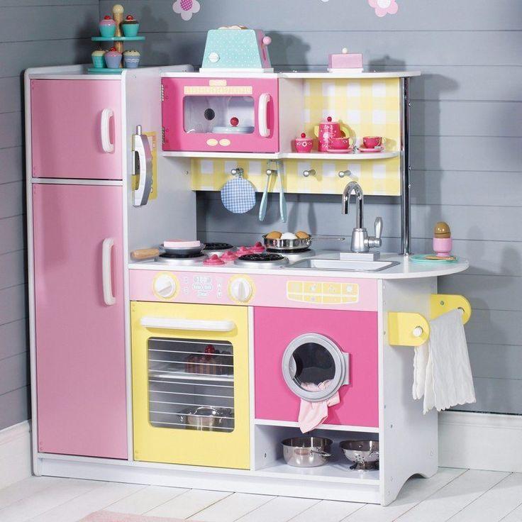 cuisine enfant bois en rose et jaune avec une machine à laver encastrée