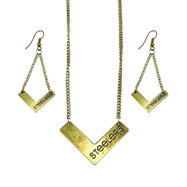 Shop the Official Steelers Pro Shop for Pittsburgh Steelers Chevron Gold Necklace And Earring Set