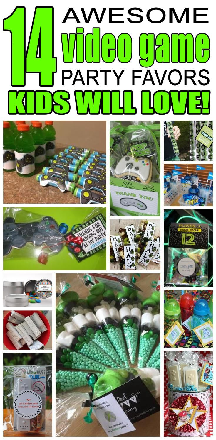 14 video game party favor ideas for kids. Fun and easy video game birthday party favor ideas for children.