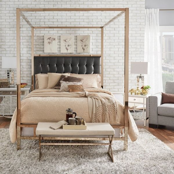 INSPIRE Q Solivita Queen-size Canopy Champagne Gold Metal Poster Bed