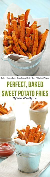This makes perfect sweet potato fries because the light coating on them makes them hold the seasoning and helps keep them from burning. It gives them a crunchy/chewy texture that is addicting!