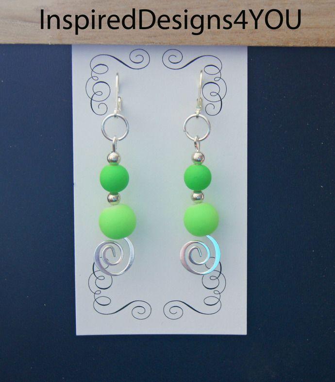 Neon Lime Earrings, Sterling  925 Silver Stamped Earrings. Green Earrings, Spiral earrings.  Glass neon earrings by JewelleryInspired4U, $13.60 USD