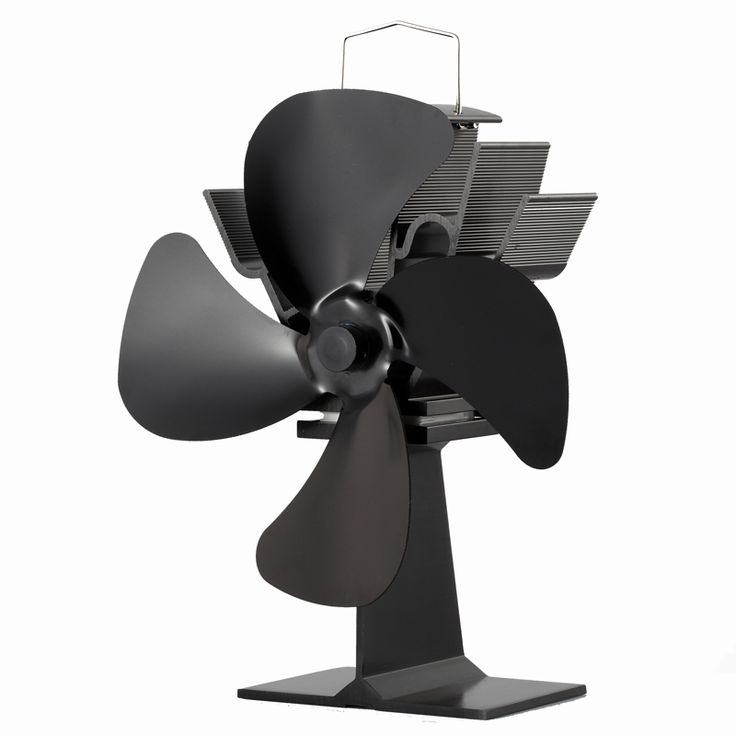 17% Flue Saving Heat Powered Stove Fan Large 4-Blade Black Aluminum Wood Burning Stove Fan