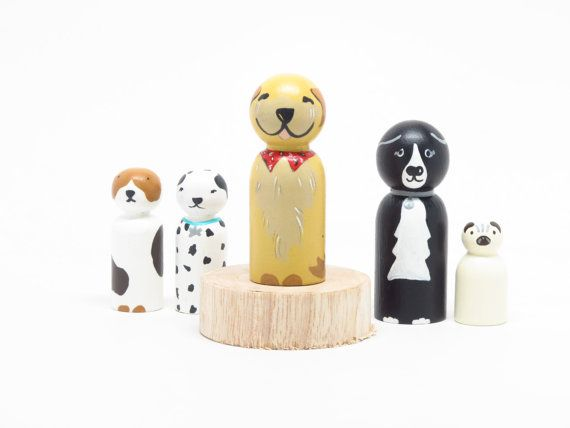 One Custom Dog by Goose Grease WOODEN DOLLS hand by goosegrease, $30.00