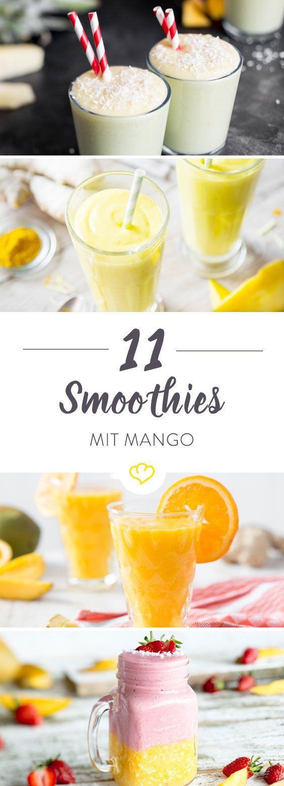 Heute Morgen holen wir uns den Sommer ins Glas! Mango, Orange und ein wenig Ingwer – ein fröhliches Trio. Mango, Banane, Blaubeeren und Joghurt – ein cremiges Quartett. Mango, Ananas, Limette, Vanille und Kokos – ein karibisches Quintett. Mango, Spinat, Mandeln, … Jeden Tag neu, jeden Tag anders.