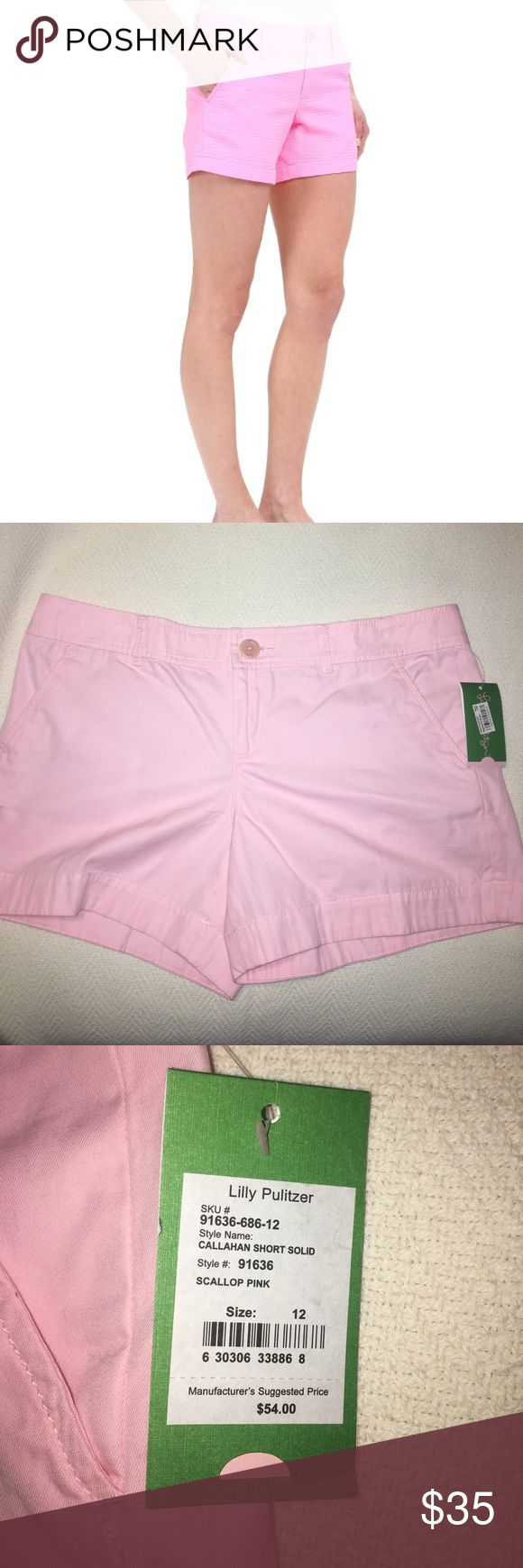 "Lilly Pulitzer Callahan shorts New with tags! Lilly Pulitzer Callahan shorts. The color is called ""scallop pink"" and appears a bit lighter than the stock photo. Very cute! Women's size 12 **price is firm** Lilly Pulitzer Shorts"