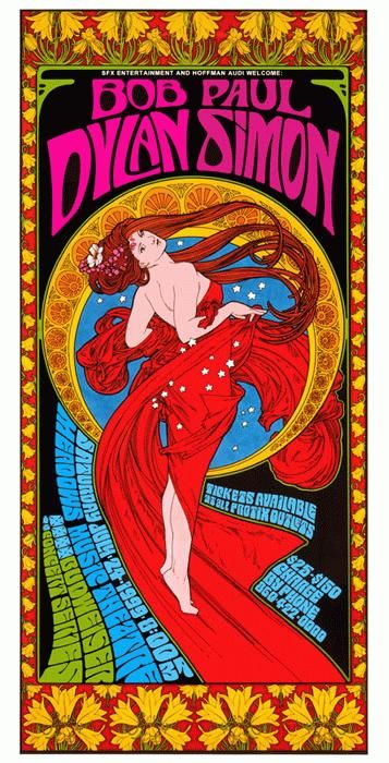 Original Concert poster for Bob Dylan and Paul Simon at The Meadows Music Theatre in Hartford, Connecticut in 1999. 12.5 x 25 inches on card stock. Art by Bob Masse.