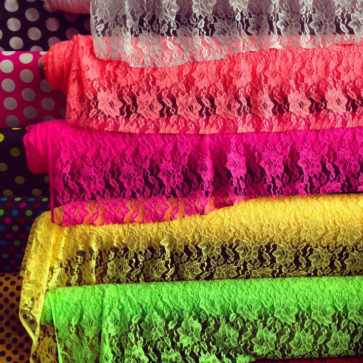 Neon Lace: Neon Fabrics, Things Lace, Costumes Inspiration, Living Colors, Neon Lace, Bright Colors, Crafts Art Sewing Cr, Colors Life, Inspiration 2012