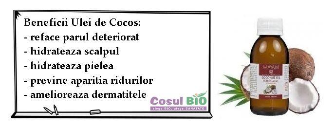 Beneficii Ulei de Cocos: - reface parul deteriorat - hidrateaza scalpul - hidrateaza pielea - previne aparitia ridurilor - amelioreaza dermatitele