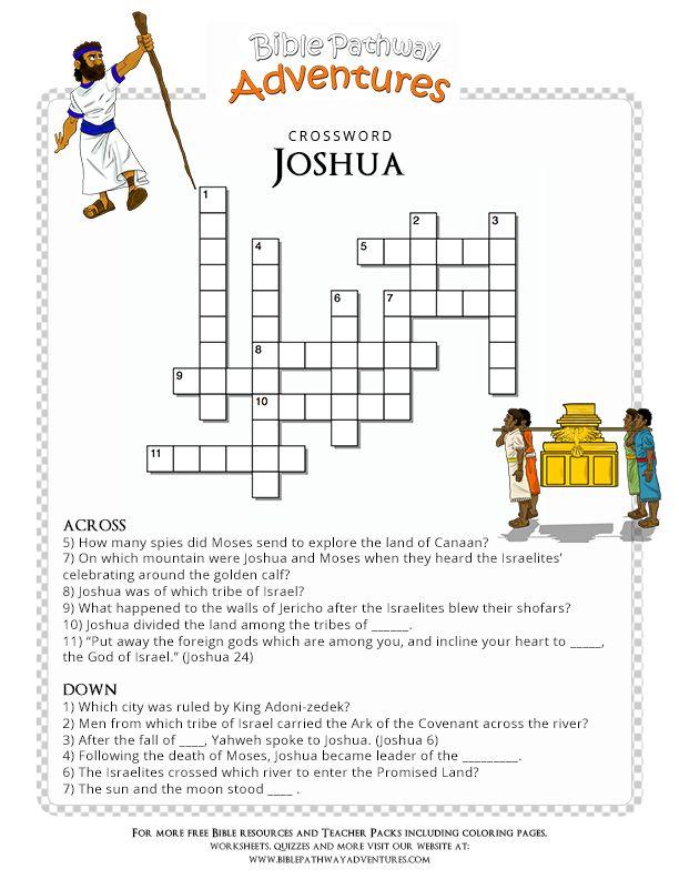 Bible Crossword Puzzle Joshua Manualidades Bible
