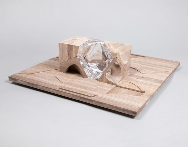 Zaha Hadid's THIS MUST BE the Place dollhouse is a puzzle structure made of wood and resin pieces. Image: Thomas Butler