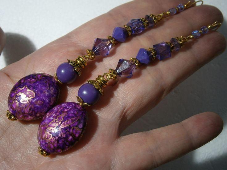 Ohrringe - Ohrringe lila pink lang handbemalt Geschenk - ein Designerstück von kunstpause bei DaWanda