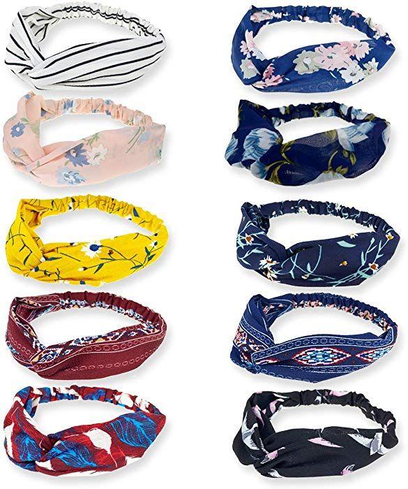 a488b3273187 Amazon.com  DRESHOW 10 Pack Boho Headbands for Women Vintage Flower Printed  Criss Cross Elastic Head Wrap Twisted Cute Hair Accessories  Clothing