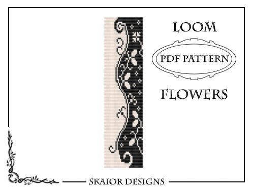Two Tone Loom Bead Pattern Flower Square Stitch Loom Bracelet Tribal Seed Beads Floral Beading Black White Fantasy Blossom Instant Download on Etsy, $5.00