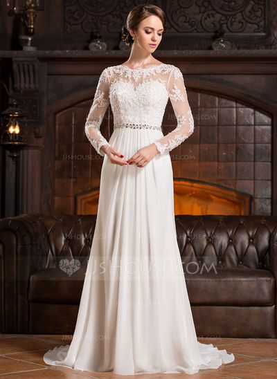 A-Line/Princess Scoop Neck Court Train Ruffle Beading Sequins Zipper Up Sleeves Long Sleeves Church General Plus No Winter Spring Fall Ivory Chiffon Lace Wedding Dress