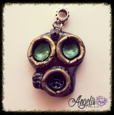 Handmade Polymer Clay Grey and Green Gas Mask Pendant