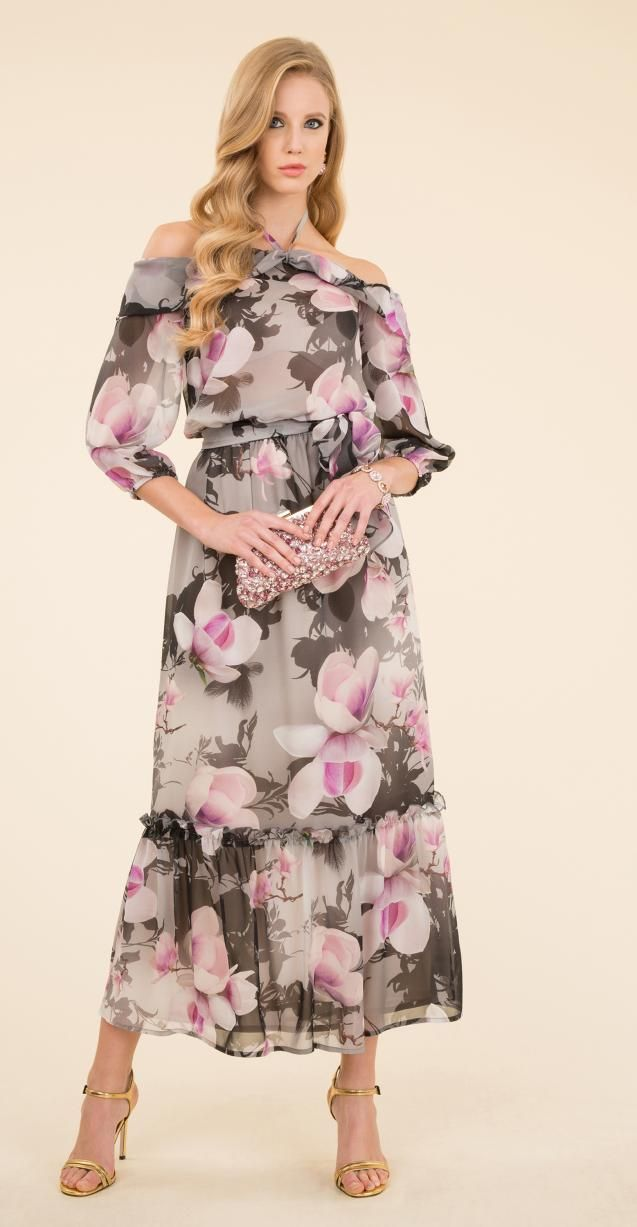 Floral silk dress with Info bag.