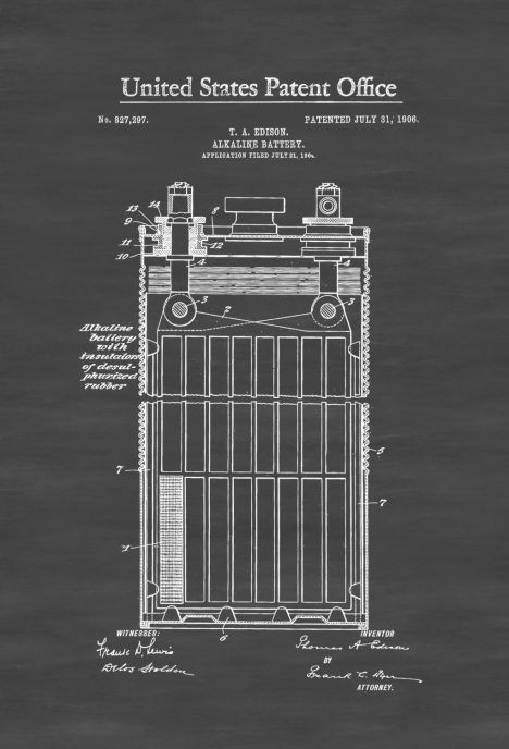 12 best thomas edison patent drawings and prints images on pinterest edison alkaline battery patent 1906 edison patent edison invention patent prints technology art thomas edison art office decor malvernweather Choice Image
