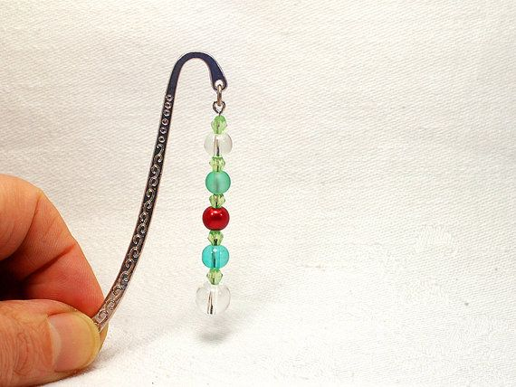 Beaded metal bookmark with red, turquoise, clear and green beads by FfigysDesigns #Cavetsy #Etsy #Handmade #Bookmark