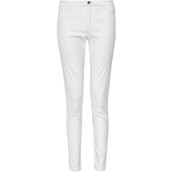 French Connection Cobra Foil Trousers, Winter White found on Polyvore featuring pants, jeans, pantalones, pants/leggings, white pants, snake pants, white trousers, super skinny pants and white skinny pants
