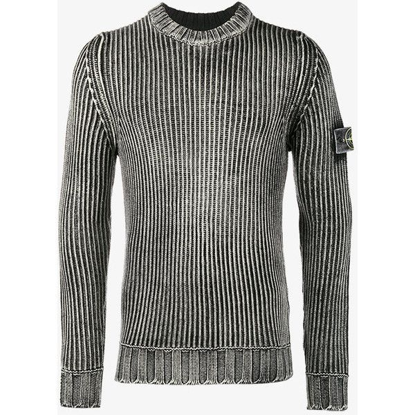 Stone Island  Weathered ribbed jumper ($710) ❤ liked on Polyvore featuring men's fashion, men's clothing, men's sweaters, black, mens collared sweater, mens slim fit sweater, men's wool crew neck sweaters, mens crew neck sweaters and mens ribbed sweater