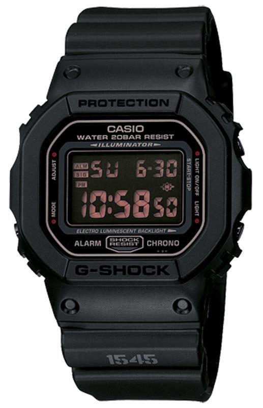 Casio DW5600MS-1 Men's G-Shock Black Resin Alarm World Timer Watch