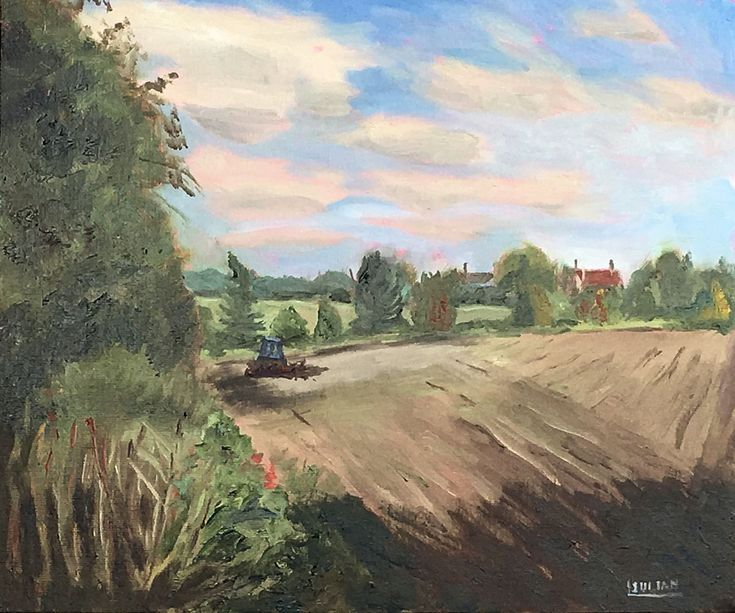 Buy Ploughing  in East Kent - An original oil painting on canvas board - Lovely Gift!, Oil painting by Julian Lovegrove Art on Artfinder. Discover thousands of other original paintings, prints, sculptures and photography from independent artists.