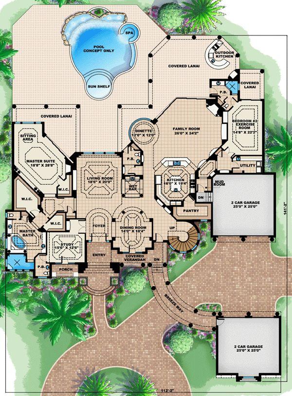 First Floor Plan of Florida   Luxury   Mediterranean   House Plan 60484