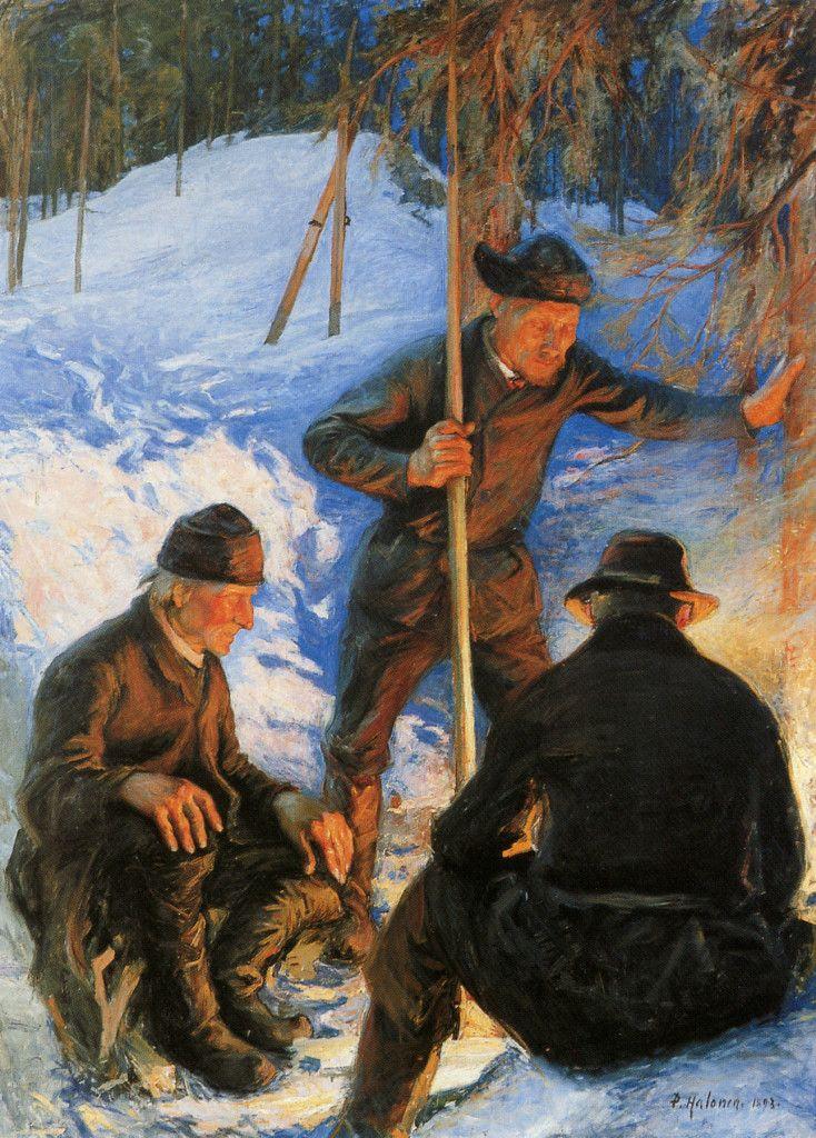 Tukkimiehiä nuotiolla 1893