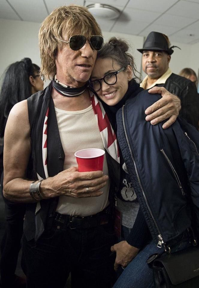 Jeff Beck and actress Demi Moore backstage at the Hollywood Bowl following the concert celebrating Jeff's 50 years as a solo artist.