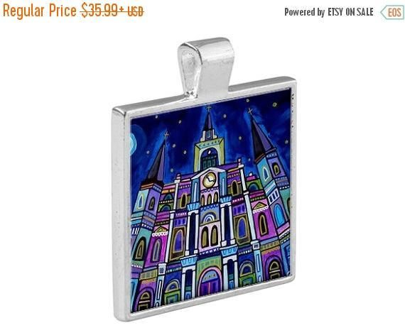 50% Off Today- New Orleans French Quarter NOLA City Skyline Necklace Folk Art Jewelry - Pendant Glass Gift Art Heather Galler Gift- Travel