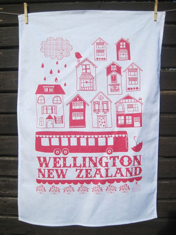 Wellington New Zealand tea towel in red