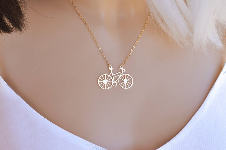 Bicycle Pendant, Bicycle Necklace, Statement Necklace, Long Necklace, Unique Necklace, Gift, Everyday Necklace,Tiny Bicycle Necklace,Bicycle  *** Bicycle necklace young and fun style, perfect for everyday necklace.  This dainty necklace is made with a gold plated bicycle charm and a delicate gold filled chain. Perfect for everyday wear and looks great with other necklaces.  - Gold Filled chain - Gold plated bicycle charm - Bicycle measures 0.86X1.2 (2.2X3.2cm) - Nickel Free  More of my…