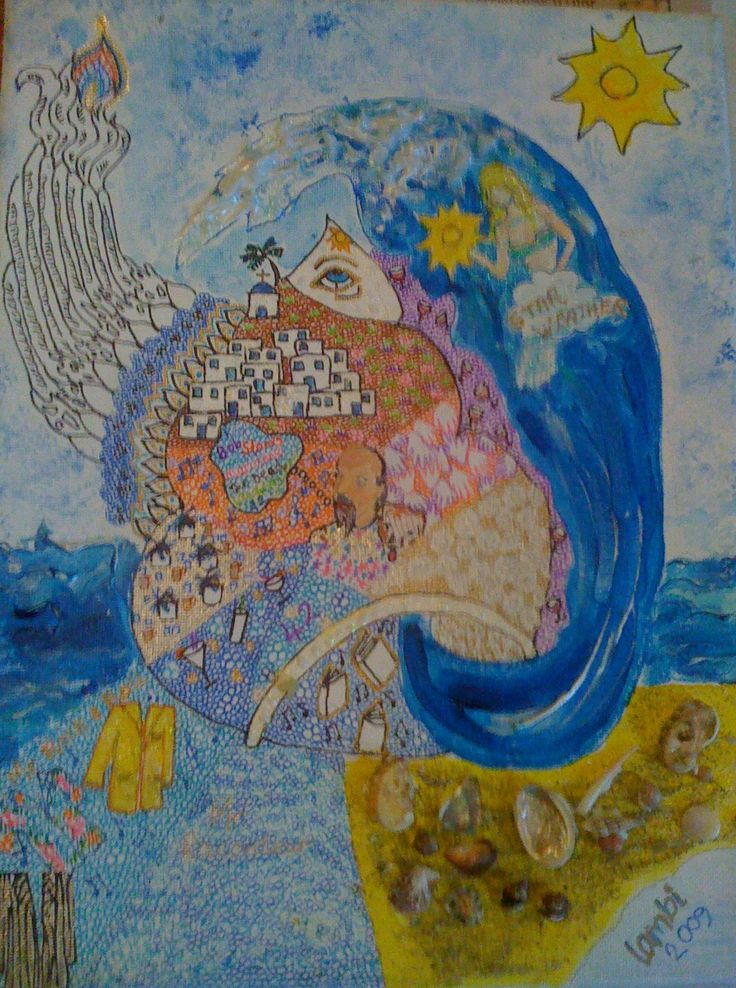 Acrylics, shells and marker pens on canvas board. A birthday present for a friend. Inspired by Ios island, Greece