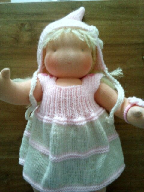 Handmade waldorf doll with cute dress and hat :-)
