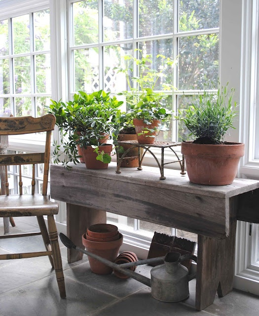 Loi Tai: Primitive Tables, Wood Benches, Wood Tables, Swedish Style, Pots Herbs, Pots Benches, Style Cottages, Barns Wood, Sunroom