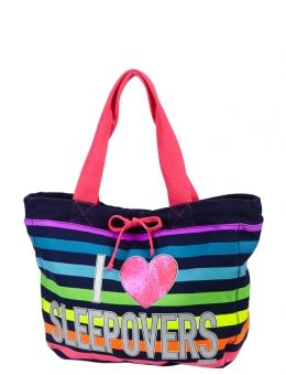 STRIPED SLEEPOVER TOTE | GIRLS FASHION BAGS & TOTES ACCESSORIES | SHOP JUSTICE