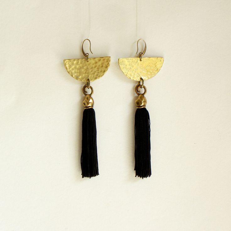 Tassel Earrings -Fringe earrings-Tassel Jewelry -Statement Earrings -boho earrings - Black Earrings - handmade Earrings - Dangle by havanaflamingo on Etsy https://www.etsy.com/listing/234932311/tassel-earrings-fringe-earrings-tassel